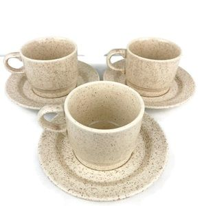 Homer Laughlin Vtg 6 Pc Speckled Cup and Saucers